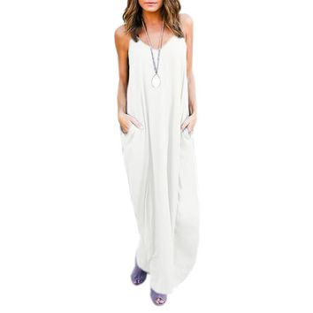 Loose Fitting, Long, Maxi Dress with Pockets