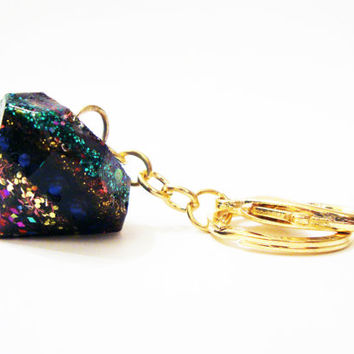 Resin Prism Keychain Glitter Mineral Crystal Diamond Charm Blue Green Valentine Statement Rainbow Gold Lobster Clasp Jewel Kaleidoscope