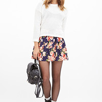 FOREVER 21 Watercolor Rose Skater Skirt