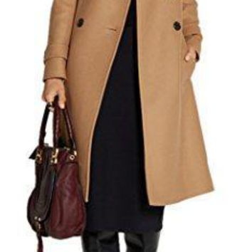 Women's Classic Camel Double Breasted Lapel Thick Full Length Wool Coat with Belt