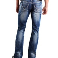 Rock & Roll Cowboy® Medium Stonewash Running V Embroidery Pistol Slim Fit Boot Cut Jeans