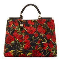 Red Rose Print Miss Sicily Shopper Tote