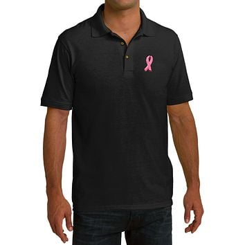 Buy Cool Shirts Breast Cancer Polo Embroidered Pink Ribbon Pocket Print