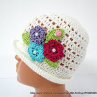 Knit, Crochet Hat, Girls Hat, With a Brim Hat Flowers Spring Hat, Brim Hat, Girls