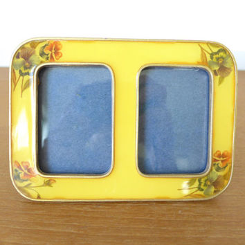 Heavy double frame yellow enamel floral picture frame