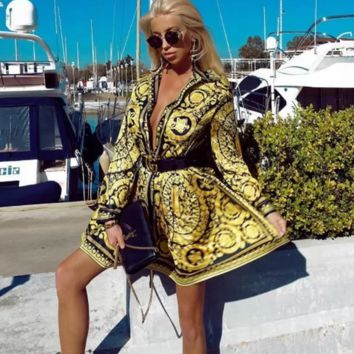 VERSACE Womens Retro Long Sleeve Dress