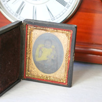 Antique Daguerreotype Case , Union Case , Black and White Picture , Ornate Gold Gilt
