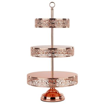 3-Tier Shiny Metallic Reversible Dessert Cupcake Stand (Rose Gold Plated)