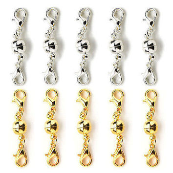 10Pcs Gold & Silver Ball Tone Magnetic Lobster Clasps for Jewelry Necklaces
