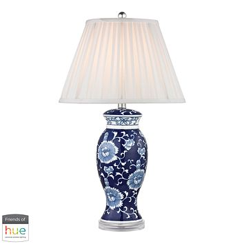 Hand Painted Ceramic Table Lamp in Blue/ White with Acrylic Base - with Philips Hue LED Bulb/Dimmer