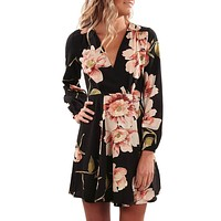Floral Printing V Collar Dress Long Sleeve Mini Dress