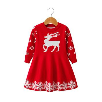 2-8 yrs baby girls long sleeve knit christmas dress 2018 autumn winter princess costume cute sweater dresses red frocks for girl