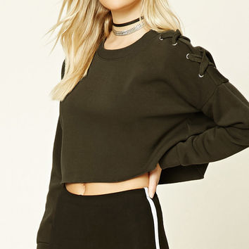Boxy Lace-Up Sweatshirt