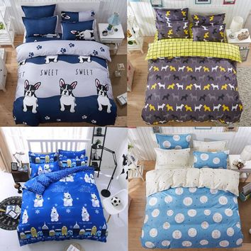 Cartoon Animal Bull Dog Bear Panda Rabbit 4Pc Twin/Full/Queen/King Size Bedding Quilt/Duvet Cover Set&Sheet Shams Kids Children