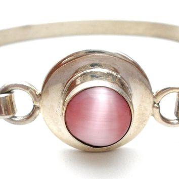 Mexican Sterling Silver Pink Cats Eye Bangle Bracelet