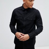 Only & Sons Shirt In Slim Fit Military Twill at asos.com