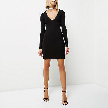 Black ribbed plunge dress - bodycon dresses - dresses - women