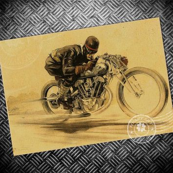 Free ship Rider Vintage Paint Kraft Paper Poster motorcycle Retro Bar Cafe Living Room Wall Art Crafts Sticker picture 42x30cm