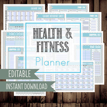 INSTANT DOWNLOAD and EDITABLE-Health and Fitness Planner-14 Documents-Food Log, Food Journal, Fitness Log, Weight Loss Tracker-Chevron