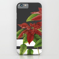 vintage poinsettia on modern background iPhone & iPod Case by Clemm