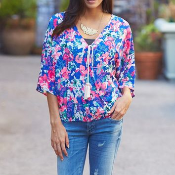 Royal Blue Floral Tie Front Dolman Sleeve Blouse