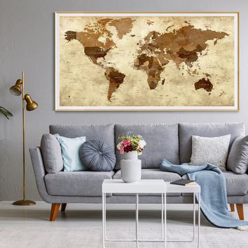 Detailed World Map Travel Map of the World Map Detailed Push Pin Travel Map World Map for Traveling Push Pin World Map Decor Art -L5