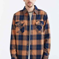 OBEY Rampart Flannel Woven Button-Down Shirt- Brown