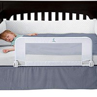 Convertible Crib Toddler Bed Rail Guard with Reinforced Anchor Safety