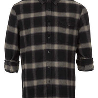 Brooklyn Print Grey Check Long Sleeve Flannel Shirt - Men's Shirts - Clothing