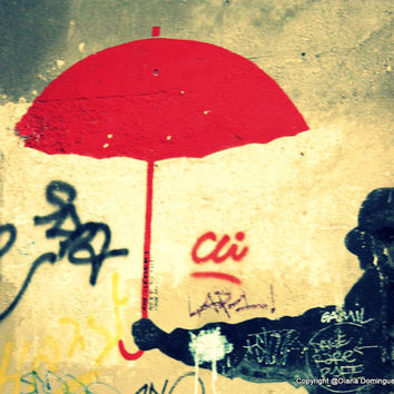 Paris Graffiti Photos Red Umbrella Graffiti Paris France  8x10  Fine Art Print Photography