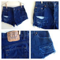 High Waisted Vintage BRAND Levi Distressed Destroyed Blue Jean Shorts Cut Offs SIZE 11