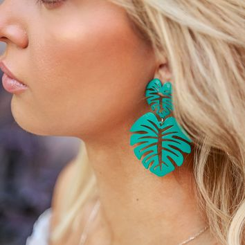 Oasis Teal Monstera Leaf Earrings