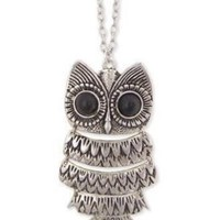 "Lovely Silver color Textured Owl Pendant With 25"" Chain Vintage Owl Pendant Long Silvered Chain Necklace Clothes:Amazon:Jewelry"