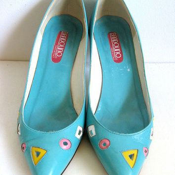Bandolino Vintage 1980s Shoes Turquoise Pastel Cut Out Pumps 6M