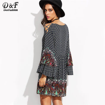 Women Boho Dress Multicolor Vintage Print Criss Cross Bell Sleeve Mini Shift Dresses 2017 New Bohemian Casual Dress