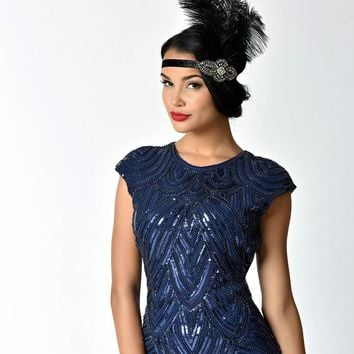 Unique Vintage Black Feather & Charcoal Crystal Beading Stretch Headband