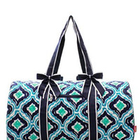 IKAT Blue Print Quilted Duffel Bag