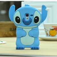 Blue Stitch Alien Cute Lovely Soft 3D Case Cover For Samsung Galaxy Light SGH-T399 (T-Mobile)