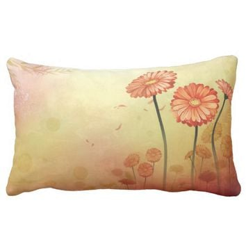 Orange Flowers Lumbar Pillow