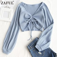 ZAFUL Women Sexy V-Neck Crop Tops Shirts Summer Gathered Textured Knitted Blouses Long Sleeve croptops Cotton Blusas Tanktop New