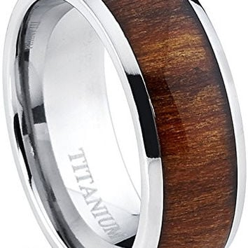 Titanium Ring Wedding Band, Engagement Ring with Real Wood Inlay, 8mm Comfort Fit Sizes 6 to 13
