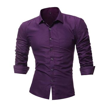 New Men's Dress Shirts Long Sleeve Plaid Shirt Slim Casual Black White Social Male Clothes