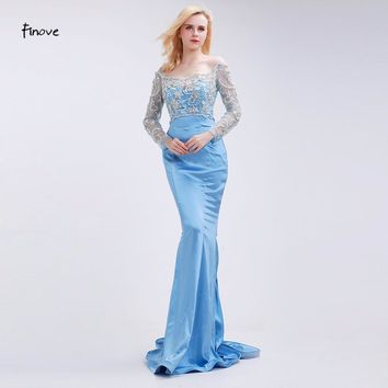Finove Mermaid Prom Dresses New Styles Gowns 2017 Beading Boat Neck Long Transparent Party Dresses for Girls Women Sweep Train