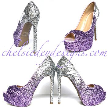 Lilac Glitter Wedding High Heels, Purple Silver Ombre Platform Peep Toe with New Last Name