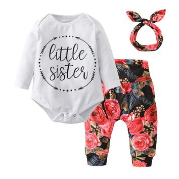 3Pcs Newborn Clothes Baby Girls Clothing Set Casual Little Sister Bodysuit Tops+Floral Pants+Bowknot Headband Infant Outfits