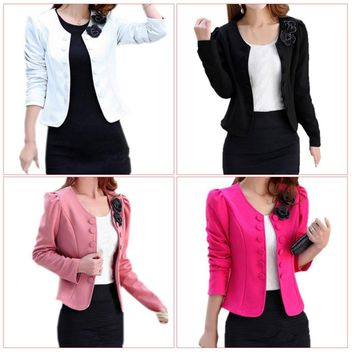 Women's Fashion Slim Jacket Suit Blazer Long Sleeve Short Coat Outerwear Black M