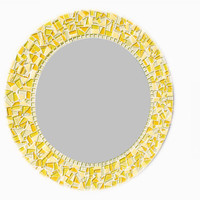 "SALE -- 18"" Round Mosaic Mirror - Yellow, Ready to Ship"