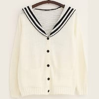Sailor Collar Button Down Knit Sweater