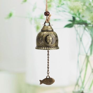 Vintage Buddha Wind Chime With Fish Wind Catcher