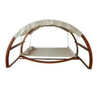 Leisure Season Patio Swing Bed with Canopy-SBWC402 at The Home Depot